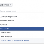 Facebook App Event optimization options