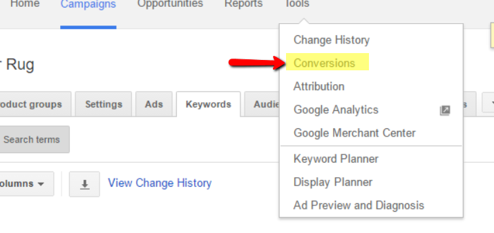Google adwords conversions in account