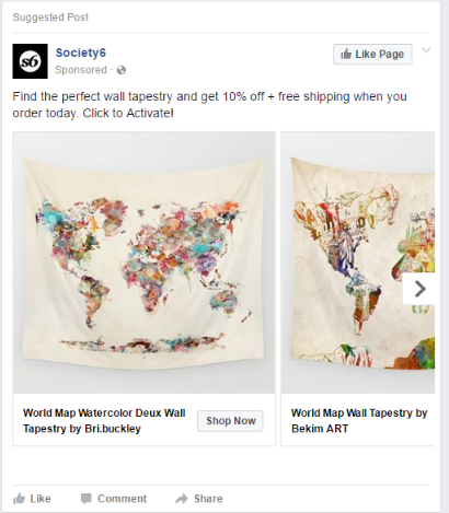 society 6 repeat customer ad on facebook