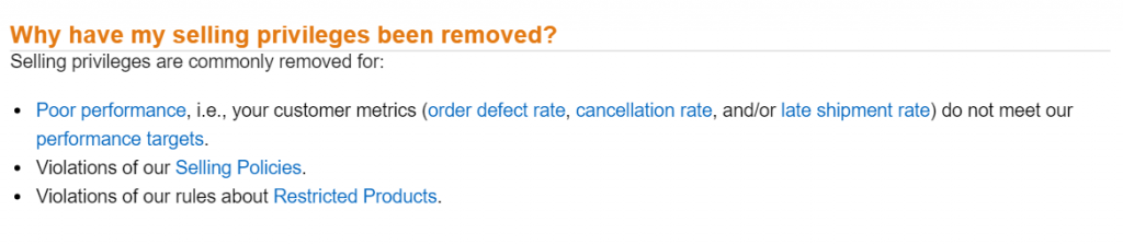amazon seller account suspension
