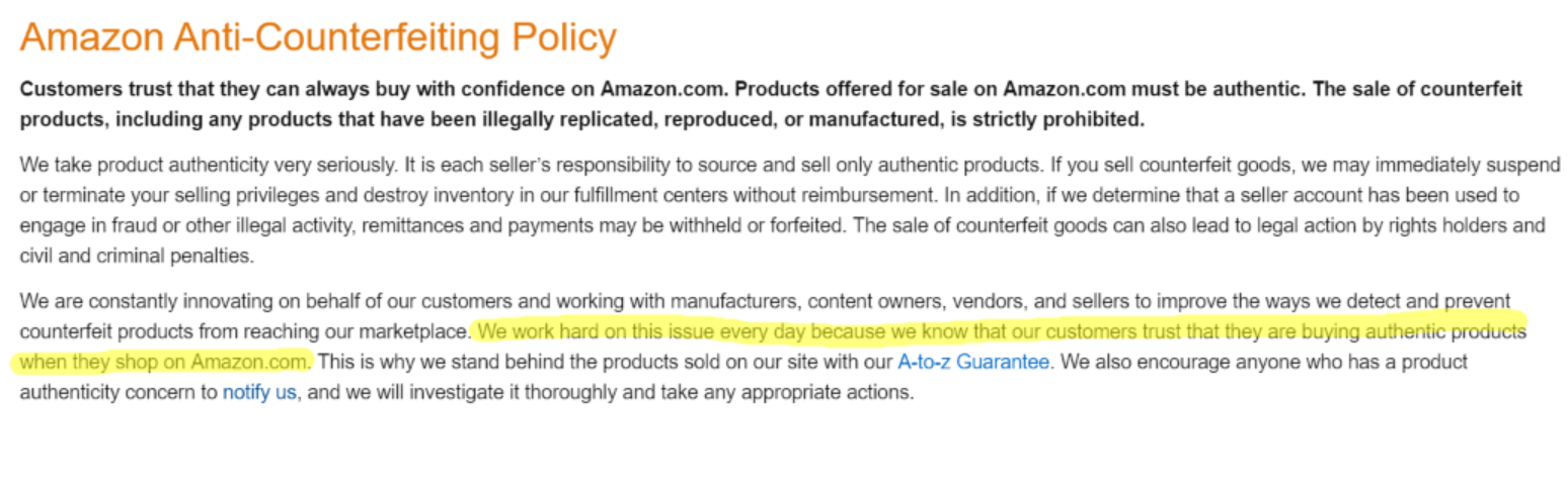amazon counterfeit policy