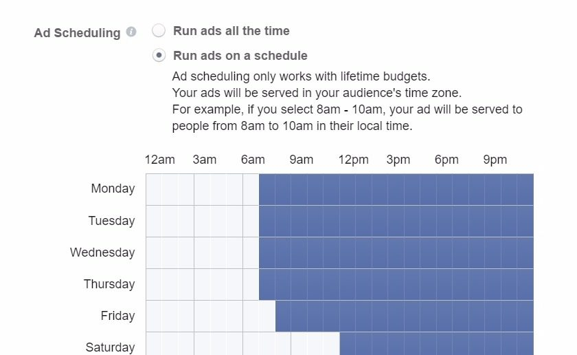 scheduling facebook ads