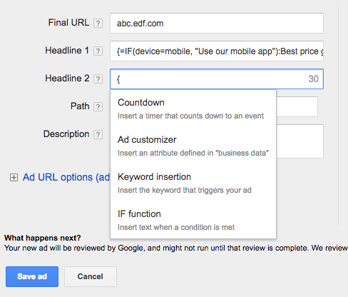Image result for How do you do Ad customisers IF function in Google Adwords
