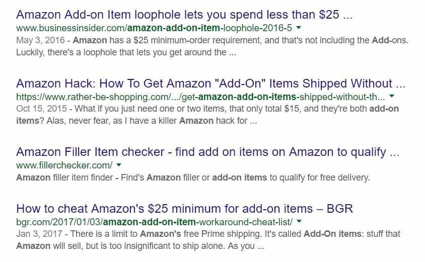 google searches for amazon add on items