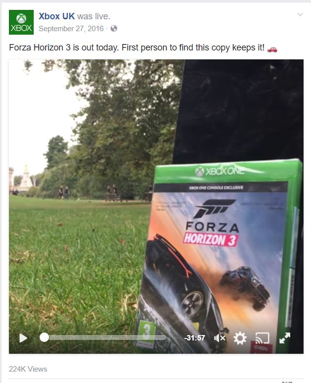 xbox ad example posted at the best time on facebook