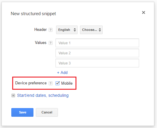 structured snippets device