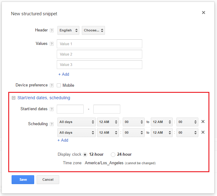 structured snippets scheduling