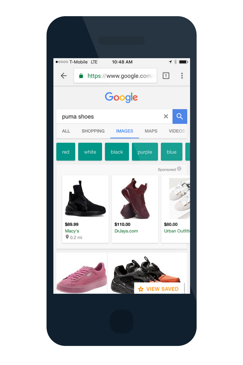google shoping mobile ad on image tab