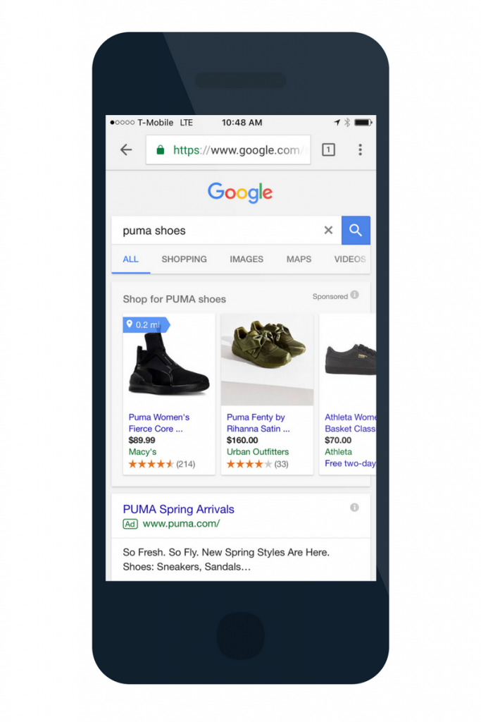 google shopping ads on mobile