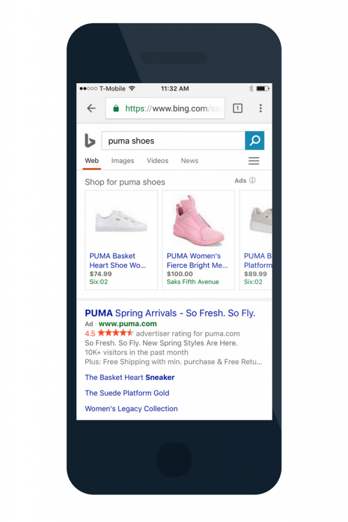 bing shopping ad format on mobile top of SERP