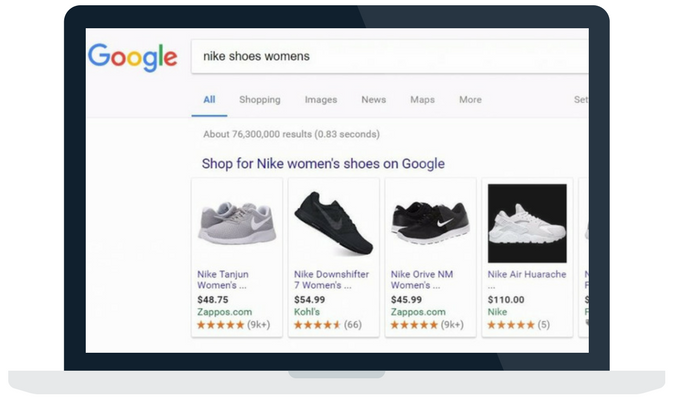 Google shopping ads on desktop browser