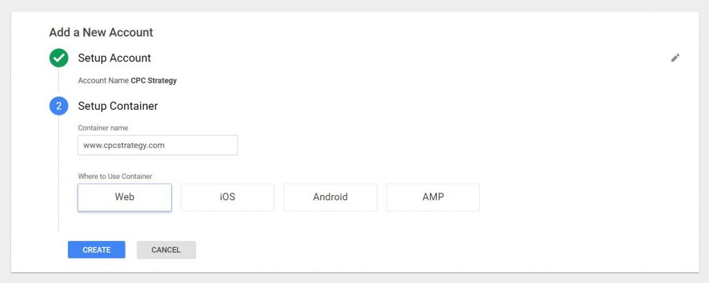 google tag manager container setup