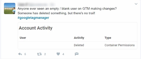 google tag manager twitter complaint