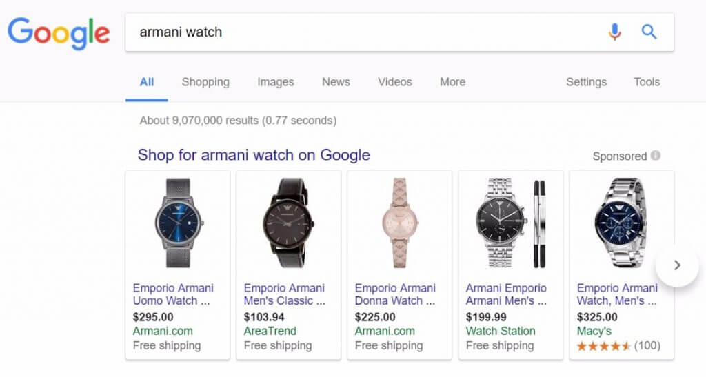 google shopping search term example