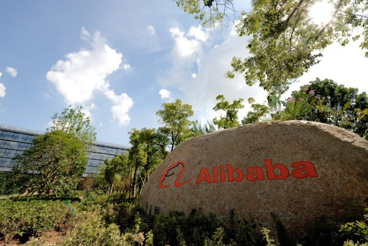 alibaba office logo in front of building