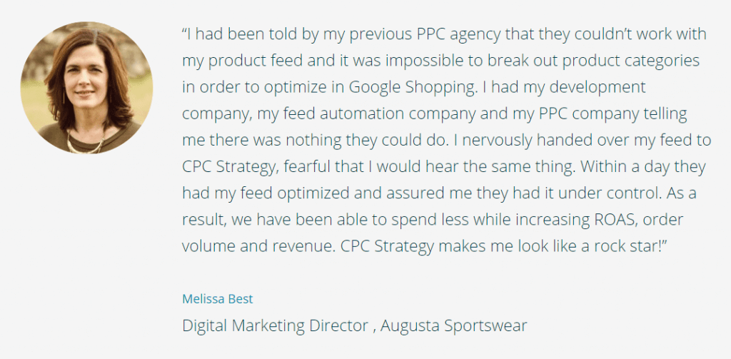 quote from augusta sportswear about product feeds