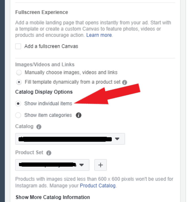 show individual items facebook dynamic ads categories