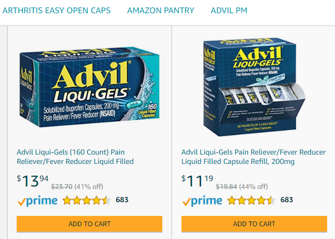 amazon store examples advil